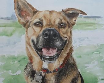 Custom Pet Portraits, favorite animals, original watercolor portrait pets to order