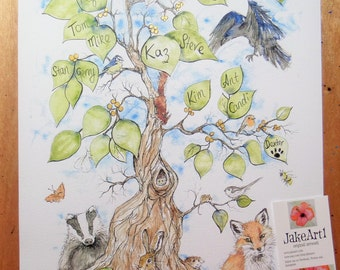 Family tree personalised print, Wedding gift, Christening gift, anniversary gift, gift for her, gift for him, wildlife art gift, gift idea