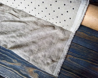 Softened beige polka dot linen fabric by the meter, organic flax fabric, undyed prewashed stonewashed black dots linen fabric by the yard