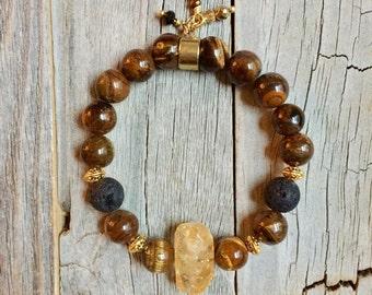 Citrine & Tigers Eye Essential Oil Diffuser bracelet