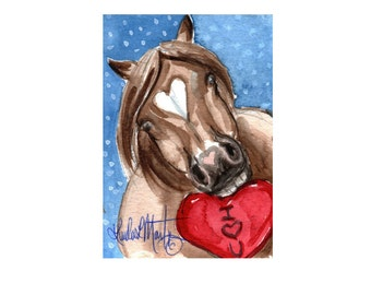 Taffy Pony Valentines Day llmartin Original ACEO  Watercolor Heart Free Shipping USA