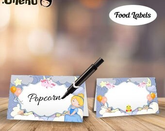 Cute Princess Food Labels DIY Printable / Princess Food Tents / Princess Labels / princess Party Decor / Place Cards / Buffet
