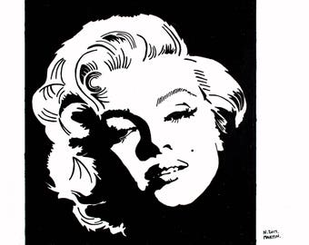Marilyn Monroe hand-drawn drawing / painting