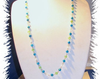 EHMN #79  Beautifully HAND TIED Blue/Green Crystal Necklace