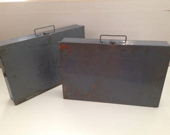 Pair of Vintage Industrial Metal Organizer Boxes Divided Compartments Grey