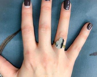 ring, adjustable ring, crystal ring, quartz and black tourmaline ring,statement ring.