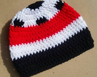 Soccer Hat, Teen Adult Hat, Red Black White Soccer Hat, Mens Crochet Beanie, Coach Gift, Sports Hat, Football Hat, Soccer Player, Futbol