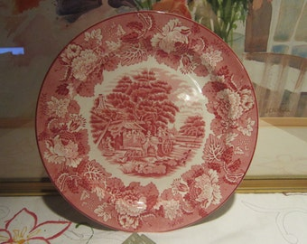 Enoch Woods Red Transferware Dinner Plate Vintage 1940's Wood & Sons England Serving Dining Replacement Collectible - Kit0526