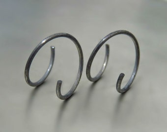 Oxidized Silver Earring, sterling silver small hoop earrings, black hoop earrings, everyday hoop earrings,