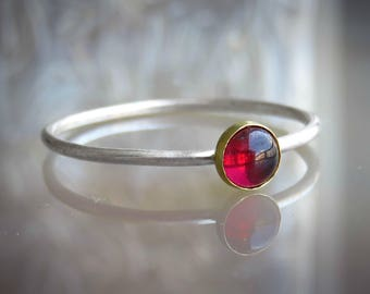 natural garnet ring - garnet ring silver - garnet stacking ring - red stone ring