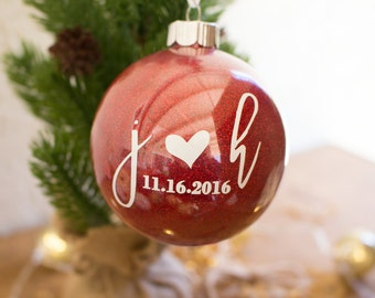 Personalized Engaged Christmas Ornament - Engagement Date Christmas Ornament - Wedding Date Christmas Ornament - Anniversary Ornament - Gift