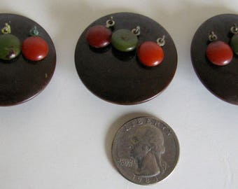 Vintage Buttons Art Deco Dangles Fall Brown Set of 3