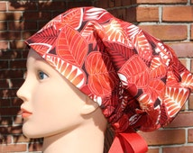 Autumn Leaf Print Surgical Cap, Chemo Hat or Scrub Hat for Women