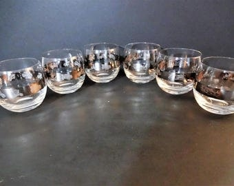 Vintage Etched Silver Band Roly Polly Glasses - Set of 6 - 3 Antique Cars - 3 Hunting and Fishing - Man Cave -  Mid Century Barware
