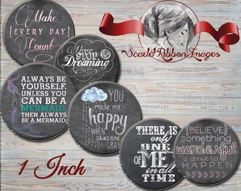 Chalkboard Sayings Bottle Cap Images 1 inch round circles- cupcake topper - Set of 15 - pendant, bow, charm,necklace and craft