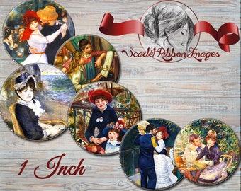 Renoir Art images - Digital collage sheet -1 inch round circles- gift tags bottle cap images pendants Set of 15 images