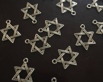 5PC Star of David Charm-Antique Silver Charms