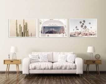 Palm Springs Print Set, Southwest Desert Wall Decor, Cactus Art, Airstream Print, Palm Springs Photography, Neutral Wall Art Set, California