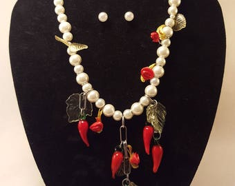 Pearl rose necklace and chilies. Free earrings!