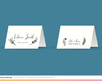 Seasonal Flora & Fauna Hand Drawn Place Name Cards, Spring, Summer, Autumn, Winter