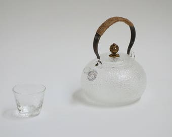 Japanese style glass teapot , hammered kettle look
