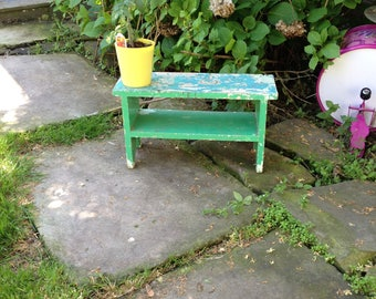 Wood Stool Secret Garden Stool Mint Green Stool Rustic Stool Vintage Wood Stool Bench Plant Stand Stool Shabby Stool Small Stool