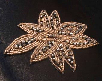 "Applique rhinestone strass beads black patch iron on 2""x 2"""