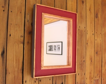 Wooden Wall Mirror. Wooden Mirror Frame. Painted Pallet Wood. Rectangular, 29.5x21cm Mirror, 40.5x32cm Frame. Dark Red, Copper and Grey