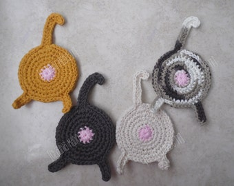 Cat Butt Coasters (Set of 4), Crochet Coasters, Cat Butts, Kitty