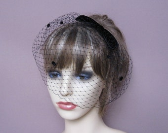Black birdcage veil velvet bow fascinator wedding funeral formal veil occasion wear retro party 1940s 1950s vintage style veil