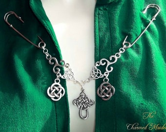 Celtic Cloak Fastener, Medieval Cloak Clasp, Cape Pin, Brooch, Celtic Cross, Celtic Knot Pin, Antique Silver, Medieval Costume Accessory