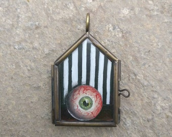 Eye See You - Locket No.3 / Glass Lockets / Hand Painted / Necklace / Rose Necklace