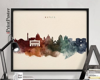 Naples poster, Napoli, Naples art print, Italy cityscape, city art, Wall art, Home decor, Travel poster, Watercolour skyline, iPrintPoster