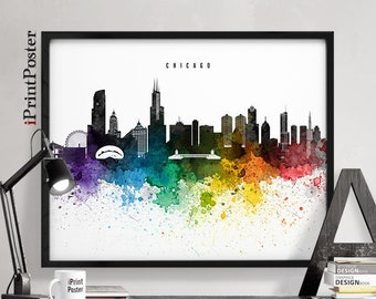 Chicago art, Chicago poster, Chicago art print, Chicago skyline, wall art, home decor, travel decor, city prints, iPrintPoster