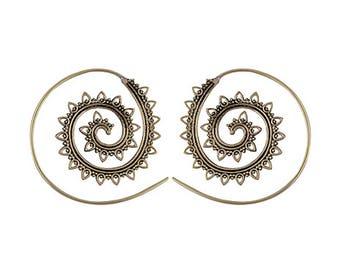 Bohemian brass spiral earrings