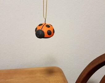 Ceramic Lady Bug Ornament (#846) - Persimmon Orange