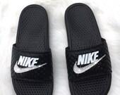 Women's Swarovski Nike Benassi Slide Sandals customized with Swarovski Crystals