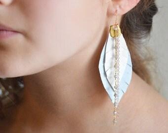 Boho Earrings, Long Gray & White Leather Earrings, Feather Shoulder Dusters, Bohemian Earrings with Gemstones, Long 14k Gold Chain Earrings