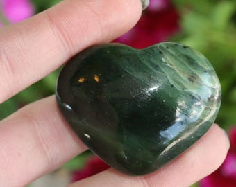 Himalayan Green Jade Carved Stone Heart Shaped Rock