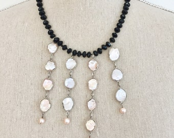 Onyx and Pearl Statement Necklace, One of a Kind Pearl Necklace, Valentine's Day Gift Ideas, Bib Necklace, Original Gemstone Necklace