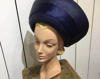 Original 1950's 'Debenham & Freebody' summer time hat - Fantastic navy summer hat with bow