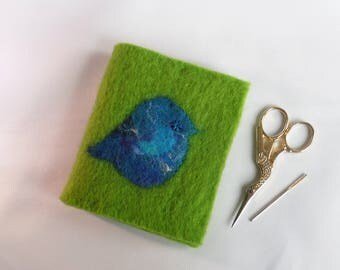 Blue Bird Needlecase - Hand felted