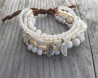 White Gemstone Bracelet, Jessie Bracelet-Linen & Leaf Multistrand Boho Bracelet