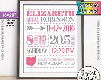 "Newborn Stats Baby Wall Art, Nursery Wall Art, Birth Announcement, New Baby Announcement Birth Stats, Newborn Info, 8x10/16x20"" Printable"