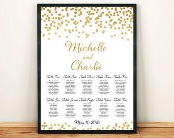 Printable Custom Wedding Seating Chart Gold Glitter Confetti Table Numbers Digital File Wedding Table Arrangement Table List PDF HQ300dpi