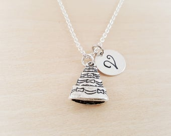 Wedding Cake Charm - Personalized Custom Initial Silver Necklace - Simple Jewelry - Gift for Her