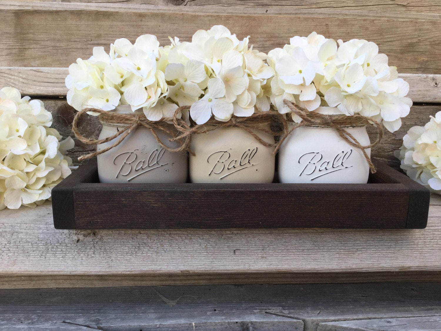 rustic tray with 3 painted mason jars farmhouse living room decor farmhouse table decor - Coffee Table Decor