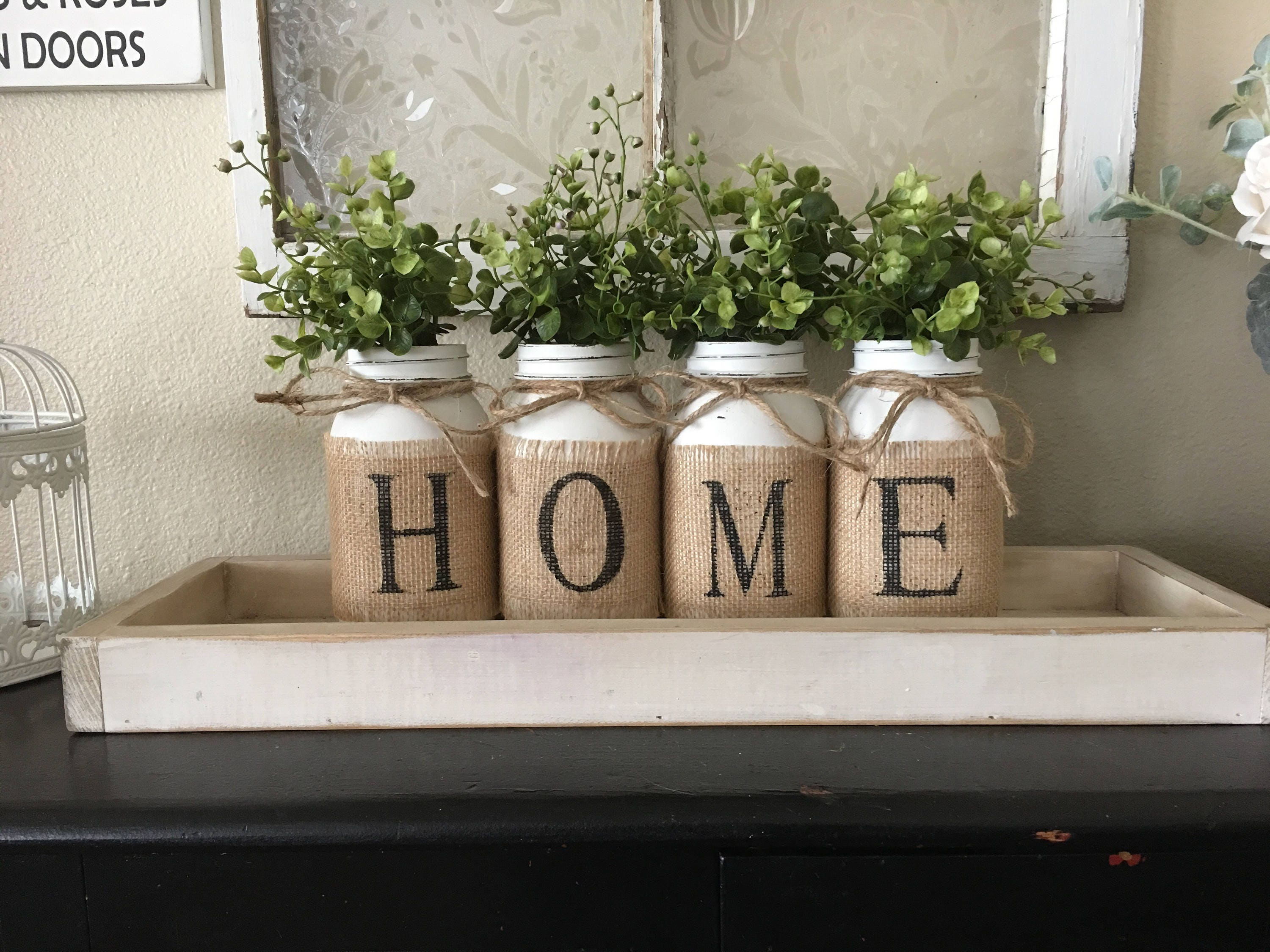 Country Home Decor Mason Jars With Burlap Painted Mason Jars Mason Jars With