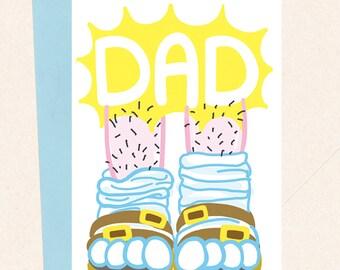 Funny Dad Card, Dad Birthday Card, Thanks Dad, Dad Card, Socks and Sandals, Dad Fashion, Funny Father's Day