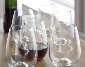 Stemless Wine Glasses/Set of 6 by Lenox (c135-1640) - Free Personalization